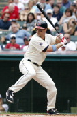 Grady Sizemore of the Cleveland Indians bats against the Pittsburgh Pirates during their game on June 19 2011 at Progressive Field in Cleveland Ohio...