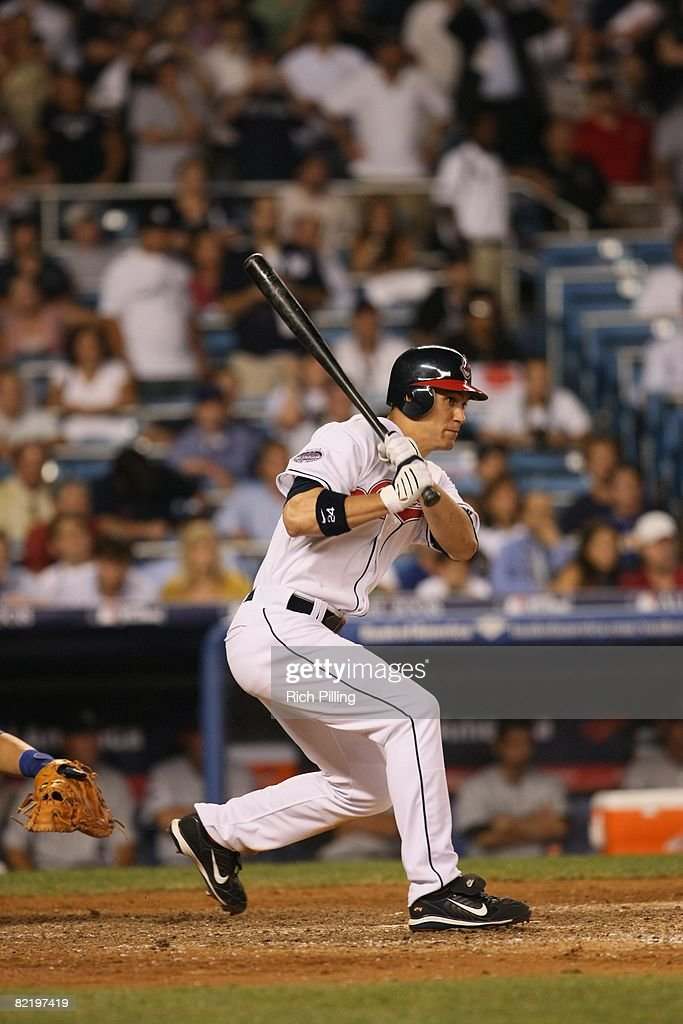 Grady Sizemore #24 of the Cleveland Indians hits during the 79th MLB All-Star Game at the Yankee Stadium in the Bronx, New York on July 15, 2008. The American League defeated the National League 4-3.