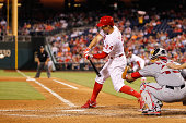 Grady Sizemore of the Philadelphia Phillies hits a two run home run in the sixth inning of the game against the Washington Nationals at Citizens Bank...