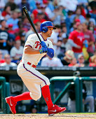 Grady Sizemore of the Philadelphia Phillies in action against the Miami Marlins during the sixth inning of a game at Citizens Bank Park on September...