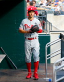 Grady Sizemore of the Philadelphia Phillies looks on before a game against the New York Mets at Citi Field on July 29 2014 in the Flushing...