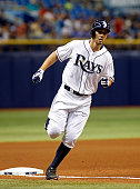 Grady Sizemore of the Tampa Bay Rays rounds third base after hitting a home run off of pitcher Cody Anderson of the Cleveland Indians during the...
