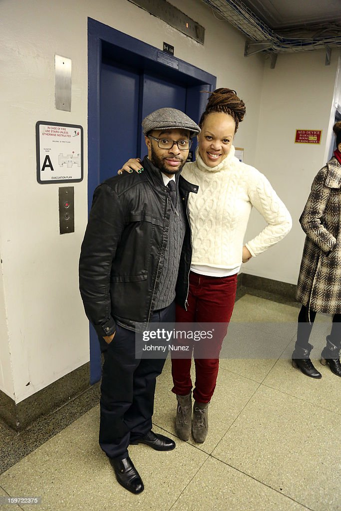 Grady Spivey III and marketing executive Angela Mack visit Kings County Hospital on January 18, 2013 in the Brooklyn borough of New York City.