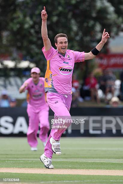 Graeme Aldridge of the Knights celebrates the wicket of Lou Vincent of the Aces during the HRV T20 Cup match between the Auckland Aces and the...