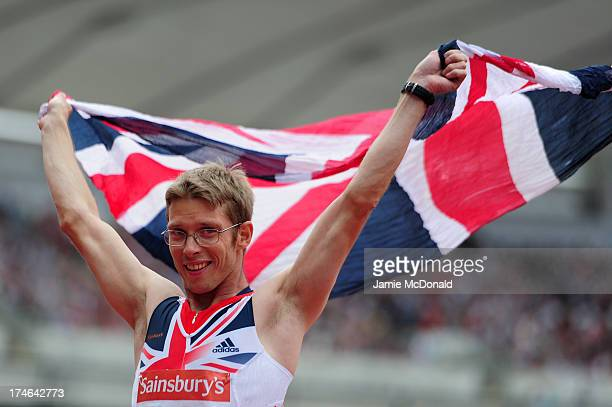 Graeme Ballard of Great Britain celebrates victory in the Men's T36 100m during day three of the Sainsbury's Anniversary Games IAAF Diamond League...
