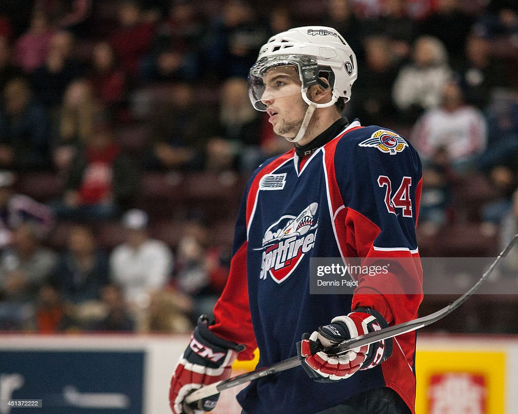 Graeme Brown #24 of the Windsor Spitfires skates against the Saginaw Spirit on March 6, 2014 at the WFCU Centre in Windsor, Ontario, Canada.