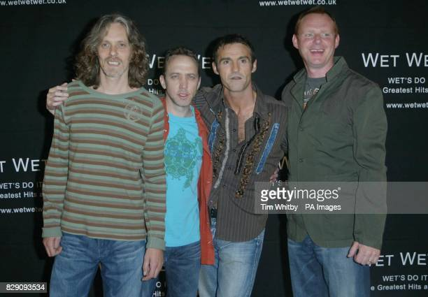Graeme Clark Neil Mitchell Marti Pellow amd Tom Cunningham during a photocall to announce that the band Wet Wet Wet are to reform after seven years...