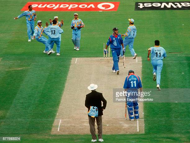 Graeme Hick of England is bowled first ball by Debasis Mohanty of India during the ICC Cricket World Cup group match between England and India at...