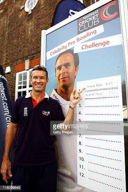 Graeme Hick poses at the Pro Bowling area during the fourth Natwest One Day International between England and Sri Lanka at Trent Bridge on July 6...