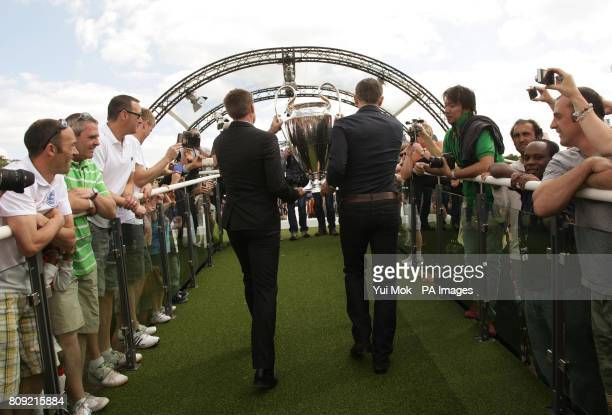Graeme Le Saux and Gary Lineker during the official opening of the UEFA Champions Festival at Hyde Park in London