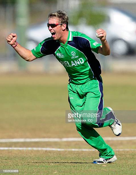 Graeme McCarter of Ireland celebrates taking the catch to dismiss Prithu Baskota of Nepal during the ICC U19 Cricket World Cup 2012 match between...