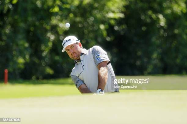 Graeme McDowell chips onto during the first round of the Dean Deluca Invitational on May 25 2017 at Colonial Country Club in Fort Worth TX