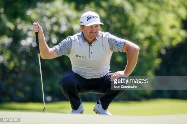 Graeme McDowell lines up his putt on during the first round of the Dean Deluca Invitational on May 25 2017 at Colonial Country Club in Fort Worth TX