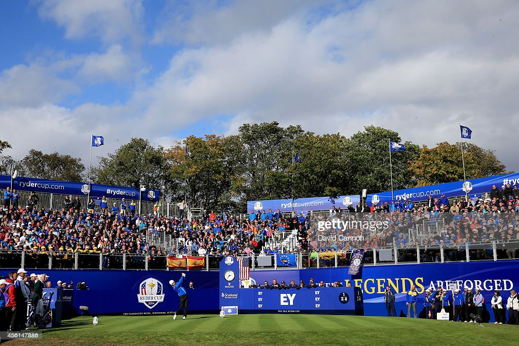 Graeme McDowell of Europe tees off on the first hole during the Afternoon Foursomes of the 2014 Ryder Cup on the PGA Centenary course at the...