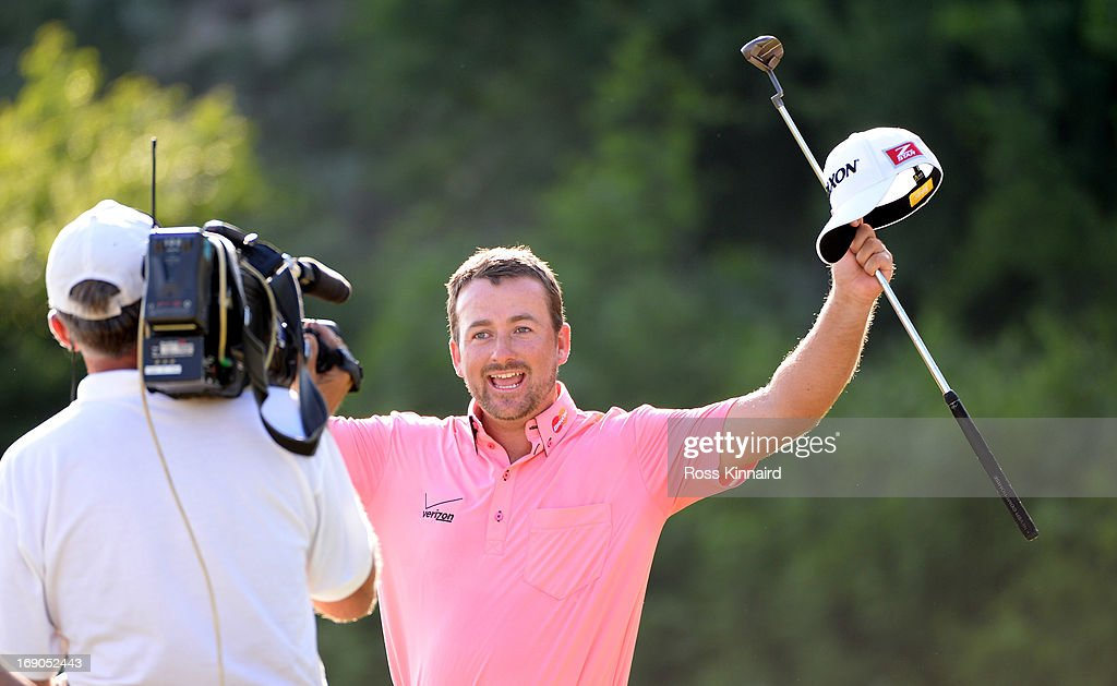 <a gi-track='captionPersonalityLinkClicked' href=/galleries/search?phrase=Graeme+McDowell&family=editorial&specificpeople=196520 ng-click='$event.stopPropagation()'>Graeme McDowell</a> of Northern Ireland celebrates after beating Thongchai Jaidee 2&1 in the final of the Volvo World Match Play Championship at Thracian Cliffs Golf & Beach Resort on May 19, 2013 in Kavarna, Bulgaria.