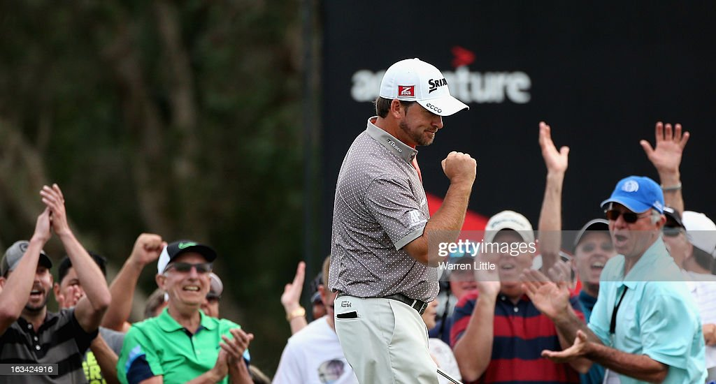 Graeme McDowell of Northern Ireland celebrates an eagle on the 16th green during the third round of the WGC - Cadillac Championship at the Trump Doral Golf Resort & Spa on March 9, 2013 in Doral, Florida.