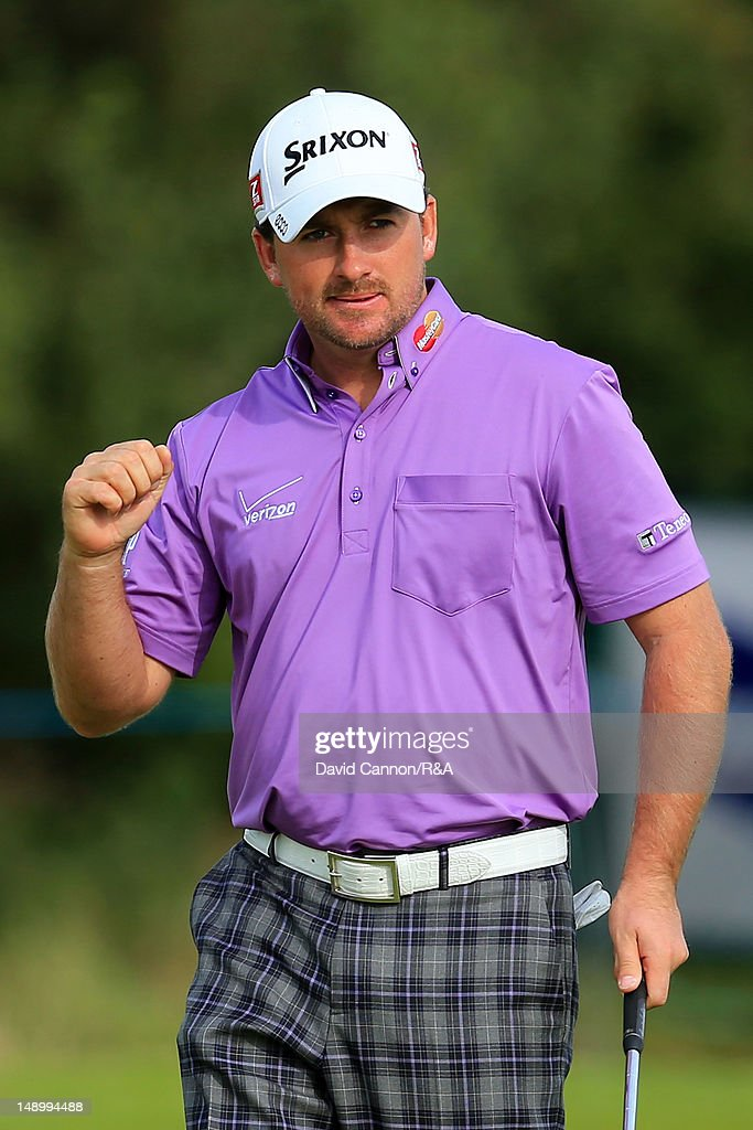 <a gi-track='captionPersonalityLinkClicked' href=/galleries/search?phrase=Graeme+McDowell&family=editorial&specificpeople=196520 ng-click='$event.stopPropagation()'>Graeme McDowell</a> of Northern Ireland celebrates making a putt for birdie on the 15th hole during the third round of the 141st Open Championship at Royal Lytham & St. Annes Golf Club on July 21, 2012 in Lytham St Annes, England.