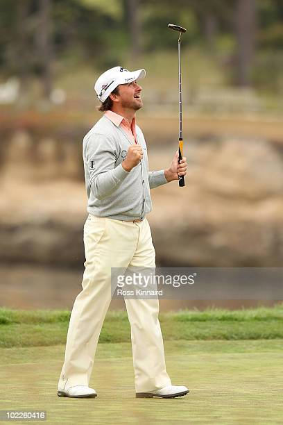 Graeme McDowell of Northern Ireland celebrates making par on the 18th hole to win the 110th US Open at Pebble Beach Golf Links on June 20 2010 in...