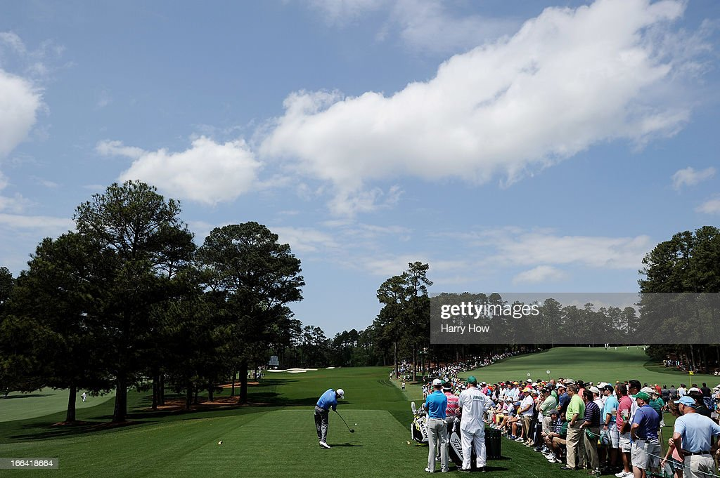 Graeme McDowell of Northern Ireland hits a tee shot on the third hole during the second round of the 2013 Masters Tournament at Augusta National Golf Club on April 12, 2013 in Augusta, Georgia.