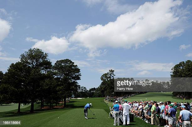 Graeme McDowell of Northern Ireland hits a tee shot on the third hole during the second round of the 2013 Masters Tournament at Augusta National Golf...