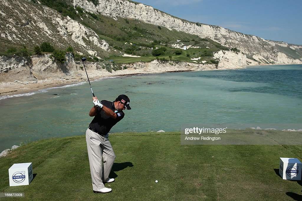 Graeme McDowell of Northern Ireland hits his tee-shot on the ninth hole on Day One of the Volvo World Match Play Championship at Thracian Cliffs Golf & Beach Resort on May 16, 2013 in Kavarna, Bulgaria.