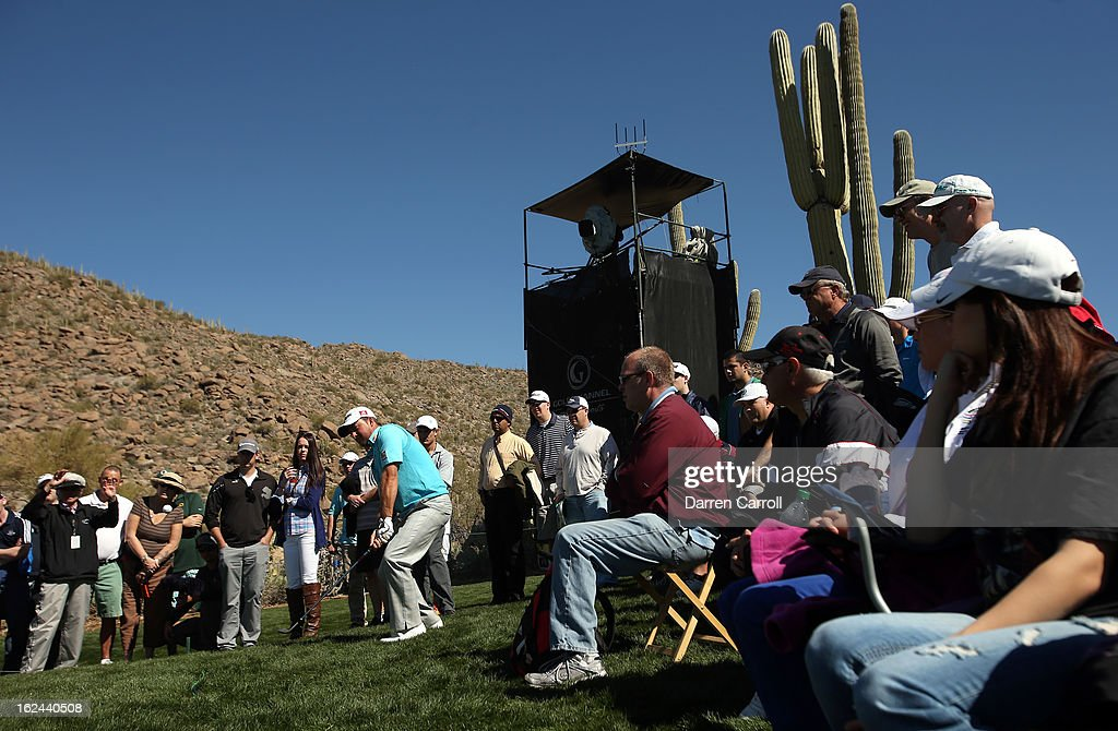 Graeme McDowell of Northern Ireland hits his third shot on the par 4th 15th hole during the third round of the World Golf Championships - Accenture Match Play at the Golf Club at Dove Mountain on February 23, 2013 in Marana, Arizona.