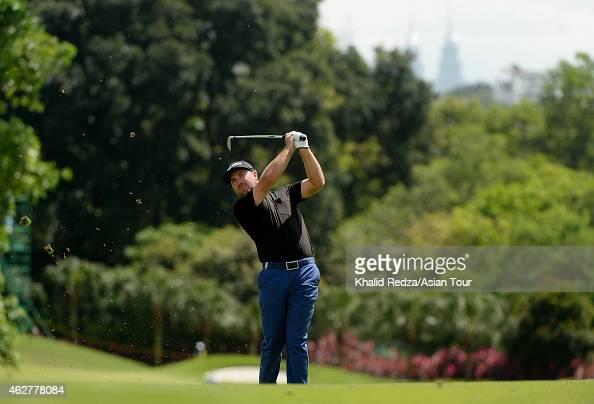 Graeme Mcdowell of Northern Ireland in action during round one of the Maybank Malaysian Open at Kuala Lumpur Golf Country Club on February 5 2015 in...