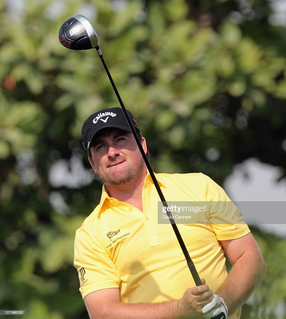 Graeme McDowell of Northern Ireland in action during the Pro Am prior to the start of the Dubai World Championship on the Earth Course Jumeirah Golf...