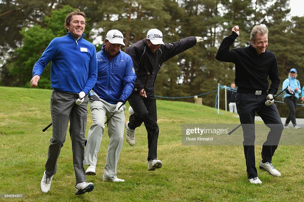 <a gi-track='captionPersonalityLinkClicked' href=/galleries/search?phrase=Graeme+McDowell&family=editorial&specificpeople=196520 ng-click='$event.stopPropagation()'>Graeme McDowell</a> of Northern Ireland jokes around with Jockeys Sir Anthony McCoy (L), <a gi-track='captionPersonalityLinkClicked' href=/galleries/search?phrase=Carl+Llewellyn&family=editorial&specificpeople=220479 ng-click='$event.stopPropagation()'>Carl Llewellyn</a> and Mick Fiztgerald (R) during the Pro-Am prior to the BMW PGA Championship at Wentworth on May 25, 2016 in Virginia Water, England.