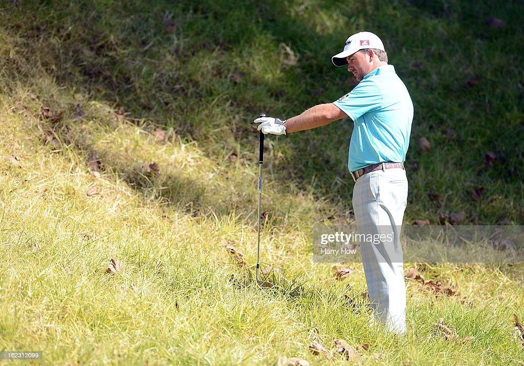 Graeme McDowell of Northern Ireland lines up his shot on the fifth hole during the second round of the Northern Trust Open at the Riviera Country Club on February 15, 2013 in Pacific Palisades, California.