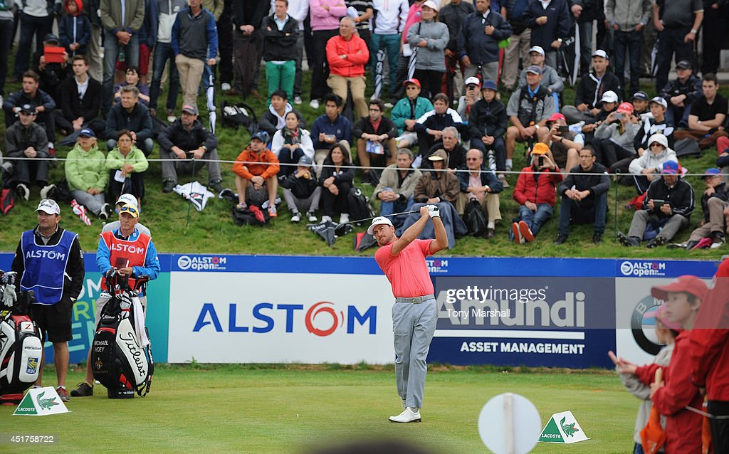 Graeme McDowell of Northern Ireland plays his first shot on the 1st tee during the Alstom Open de France - Day Four at Le Golf National on July 6, 2014 in Paris, France.