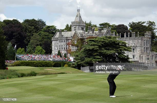 Graeme McDowell of Northern Ireland plays his second shot on the 18th hole during the first round of The JP McManus Invitational ProAm event at the...