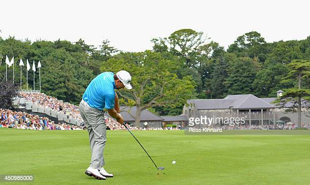 Graeme McDowell of Northern Ireland plays his second shot on the par five 18th hole during the third round of the Irish Open at the Fota Island...