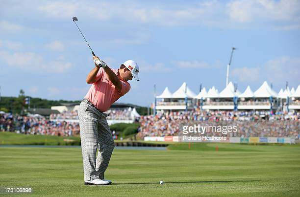 Graeme McDowell of Northern Ireland plays into the 18th green during the final round of the Alstom Open de France at Le Golf National on July 7 2013...