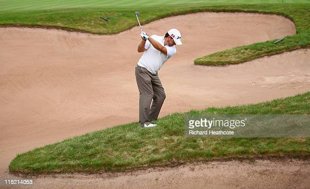 Graeme McDowell of Northern Ireland plays into the 2nd green during the third round of the Saab Wales Open on the Twenty Ten course at The Celtic...