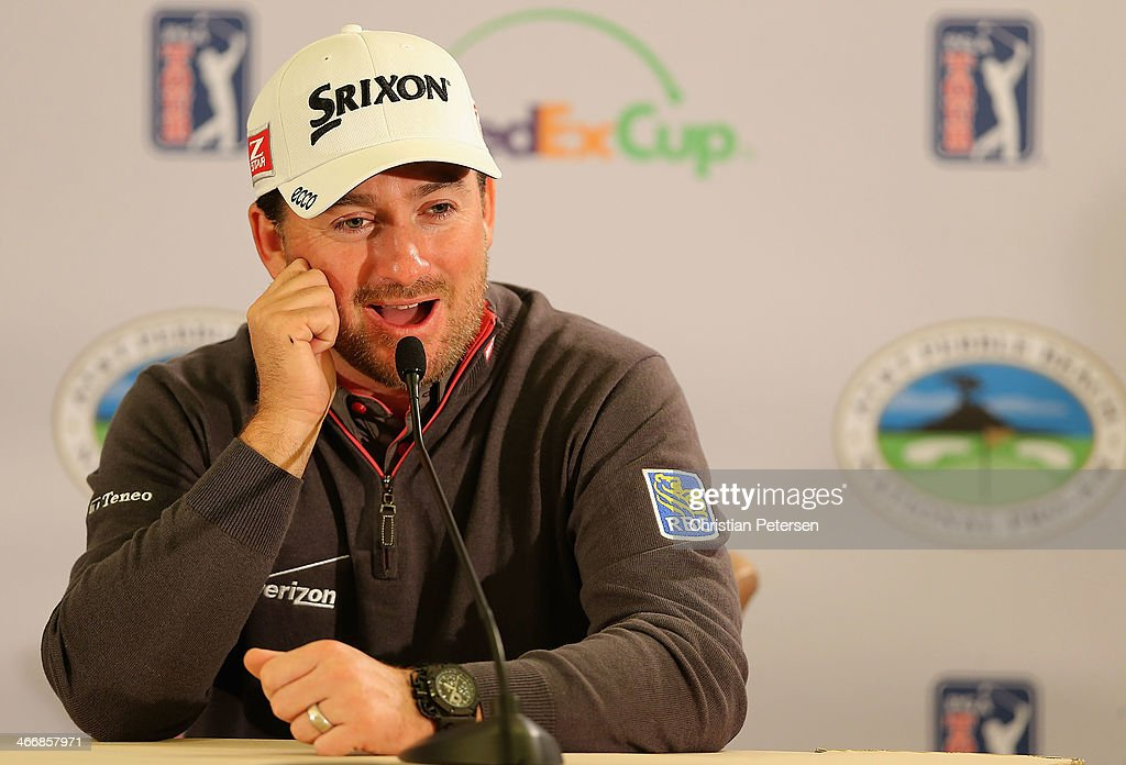 <a gi-track='captionPersonalityLinkClicked' href=/galleries/search?phrase=Graeme+McDowell&family=editorial&specificpeople=196520 ng-click='$event.stopPropagation()'>Graeme McDowell</a> of Northern Ireland speaks during a press conference following a practice round for the AT&T Pebble Beach National Pro-Am at Pebble Beach Golf Links on February 4, 2014 in Pebble Beach, California.