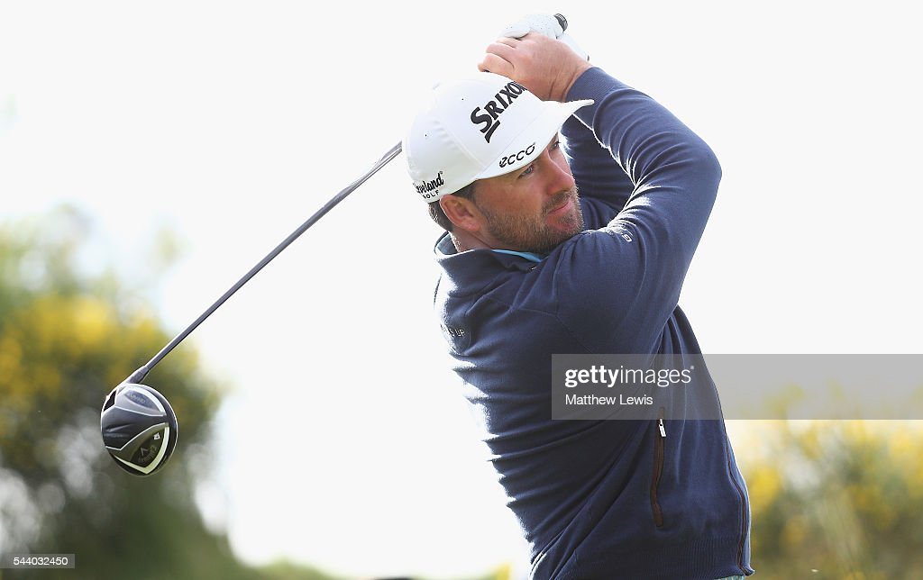 <a gi-track='captionPersonalityLinkClicked' href=/galleries/search?phrase=Graeme+McDowell+-+Golfer&family=editorial&specificpeople=196520 ng-click='$event.stopPropagation()'>Graeme McDowell</a> of Northern Ireland tees off during day two of the 100th Open de France at Le Golf National on July 1, 2016 in Paris, France.