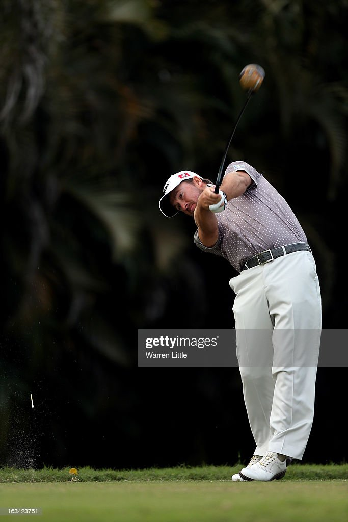 Graeme McDowell of Northern Ireland tees off on the 16th hole during the third round of the WGC - Cadillac Championship at the Trump Doral Golf Resort & Spa on March 9, 2013 in Doral, Florida.