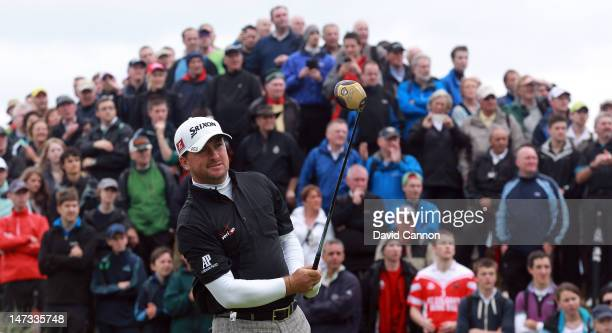 Graeme McDowell of Northern Ireland tees off on the 1st tee during the first round of the 2012 Irish Open held on the Dunluce Links at Royal Portrush...