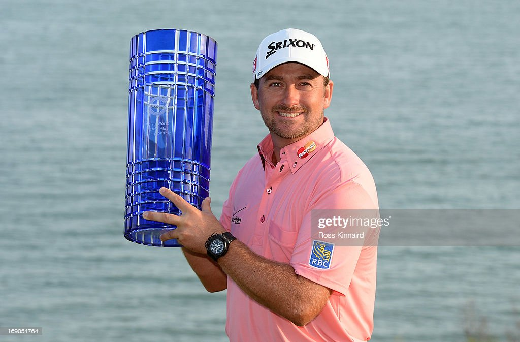 <a gi-track='captionPersonalityLinkClicked' href=/galleries/search?phrase=Graeme+McDowell&family=editorial&specificpeople=196520 ng-click='$event.stopPropagation()'>Graeme McDowell</a> of Northern Ireland with the winners trophy after the final of the Volvo World Match Play Championship at Thracian Cliffs Golf & Beach Resort on May 19, 2013 in Kavarna, Bulgaria.