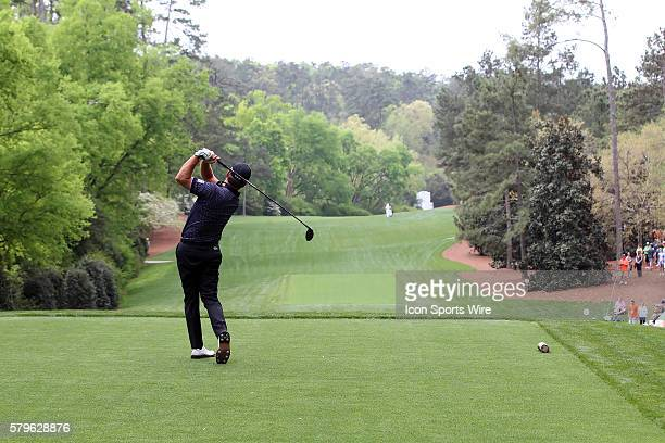 Graeme McDowell on the 18th tee during the 2015 Masters Tournament at the Augusta National Golf Club in Augusta Georgia