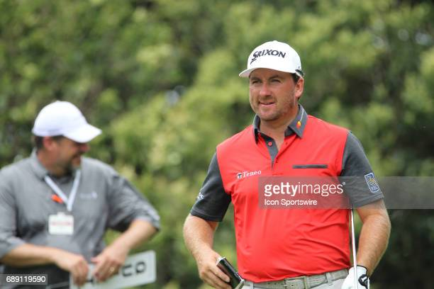 Graeme McDowell reacts after putting on the 8th green during the third round of the Dean Deluca Invitational on May 27 2017 at Colonial Country Club...