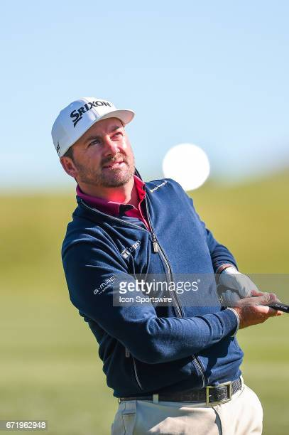 Graeme McDowell watches a shot during the final round of the Valero Texas Open at the TPC San Antonio Oaks Course in San Antonio TX on April 23 2017