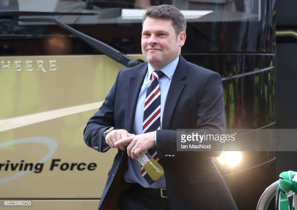 Graeme Murty Caretaker manager of Rangers arrives at the stadium prior to the Ladbrokes Scottish Premiership match between Celtic and Rangers at...