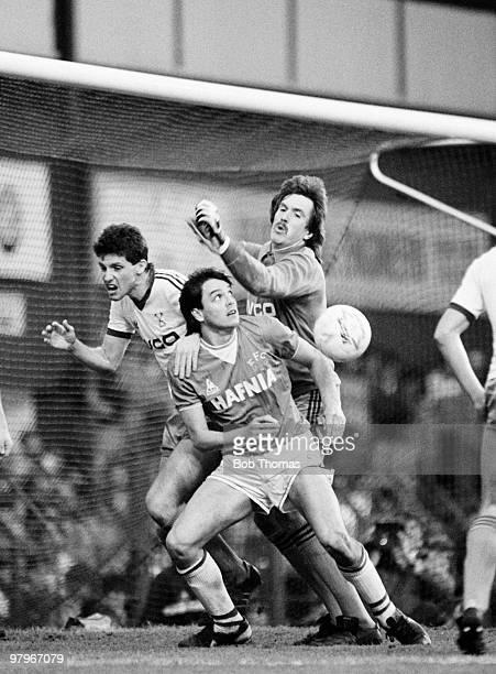 Graeme Sharp of Everton causes trouble for the West Ham United goalkeeper Phil Parkes and defender Tony Gale during the Everton v West Ham United...