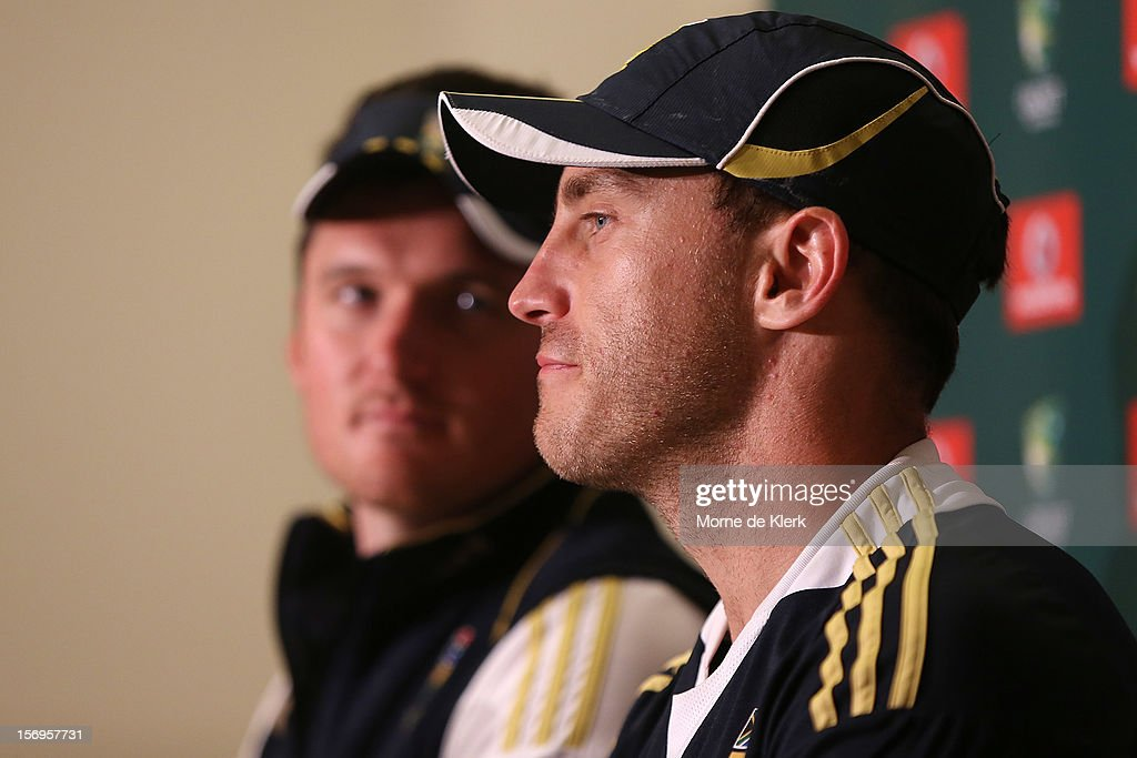 Graeme Smith and Faf du Plessis of South Africa speaks during a post match press conference after day five of the Second Test Match between Australia and South Africa at Adelaide Oval on November 26, 2012 in Adelaide, Australia.