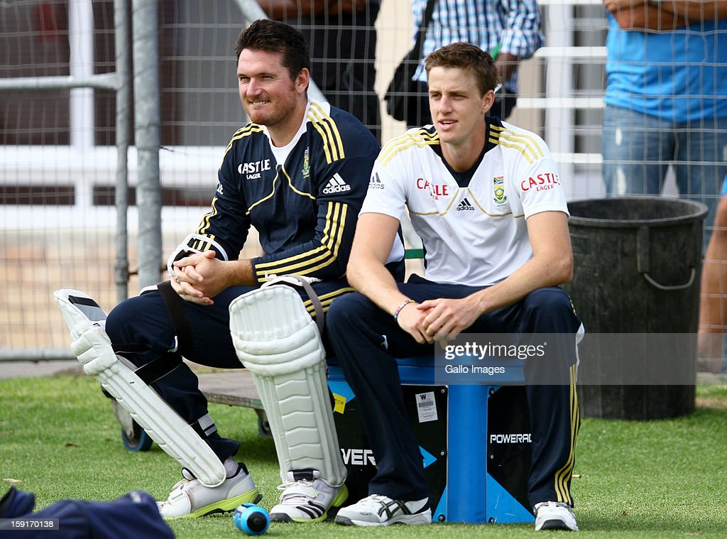 Graeme Smith and Morne Morkel during the South African national cricket team training session at Axxess St Georges on January 09, 2013 in Port Elizabeth, South Africa.