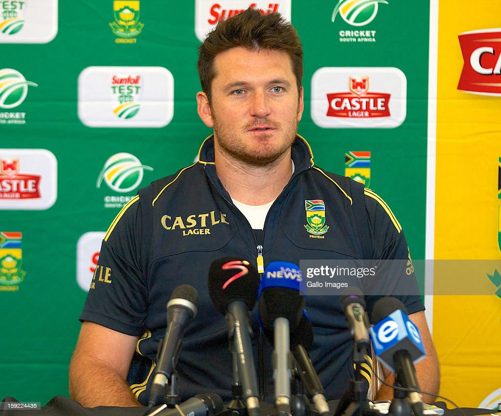 <a gi-track='captionPersonalityLinkClicked' href=/galleries/search?phrase=Graeme+Smith+-+Cricket+Player&family=editorial&specificpeople=193816 ng-click='$event.stopPropagation()'>Graeme Smith</a> looks on during the South African national cricket team pre-match press conference, at Axxess St Georges on January 10, 2013 in Port Elizabeth, South Africa.