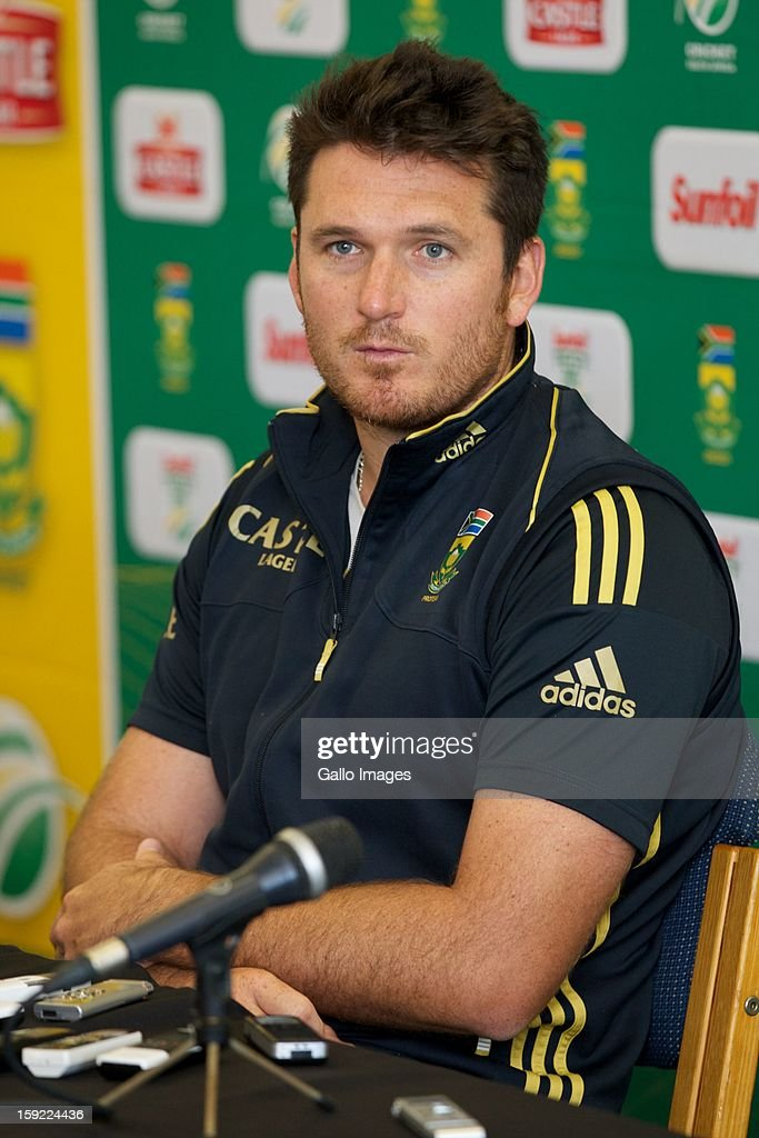 <a gi-track='captionPersonalityLinkClicked' href=/galleries/search?phrase=Graeme+Smith&family=editorial&specificpeople=193816 ng-click='$event.stopPropagation()'>Graeme Smith</a> looks on during the South African national cricket team pre-match press conference, at Axxess St Georges on January 10, 2013 in Port Elizabeth, South Africa.