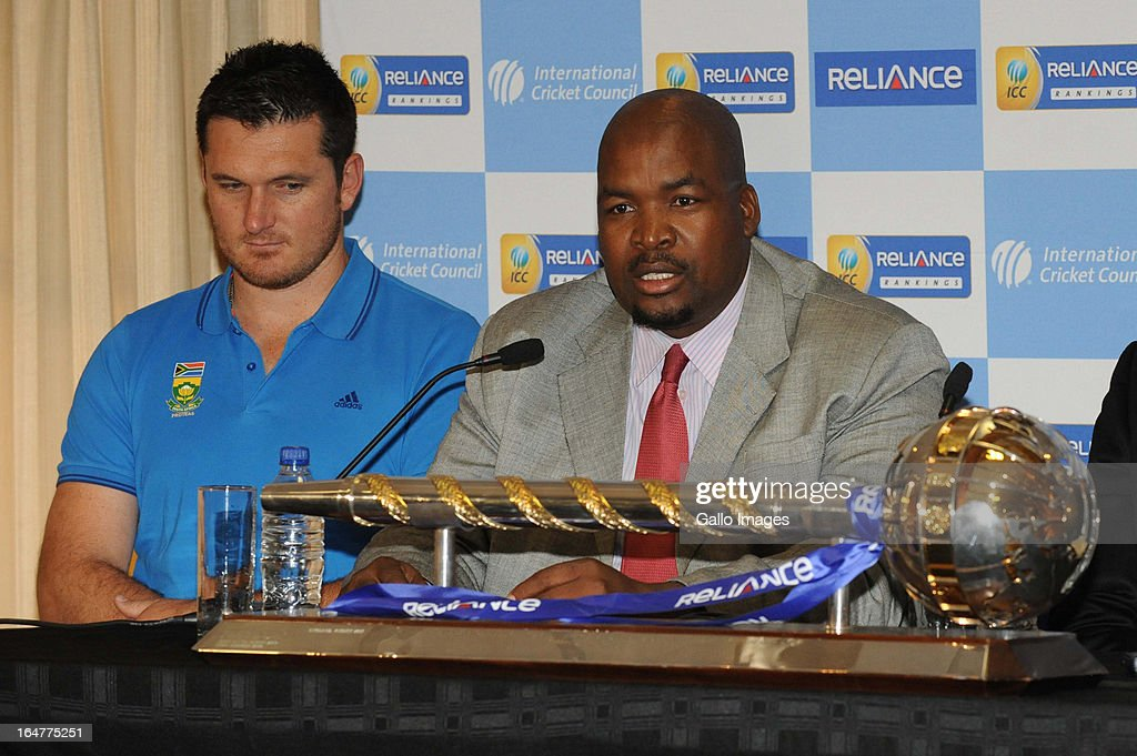 Graeme Smith of South Africa and Chris Nenzani, President of CSA, attend the ICC Test Championship mace handover, at Bidvest Wanderers Stadium on March 28, 2013 in Johannesburg, South Africa.